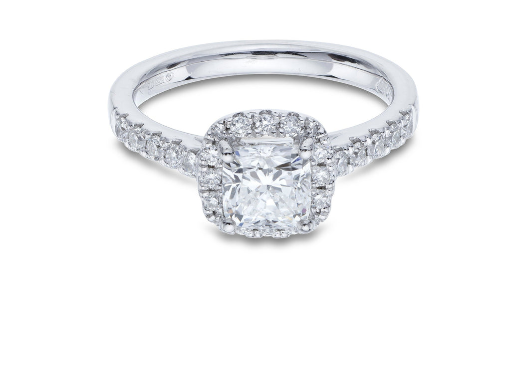 Platinum Halo Ring Cushion Cut