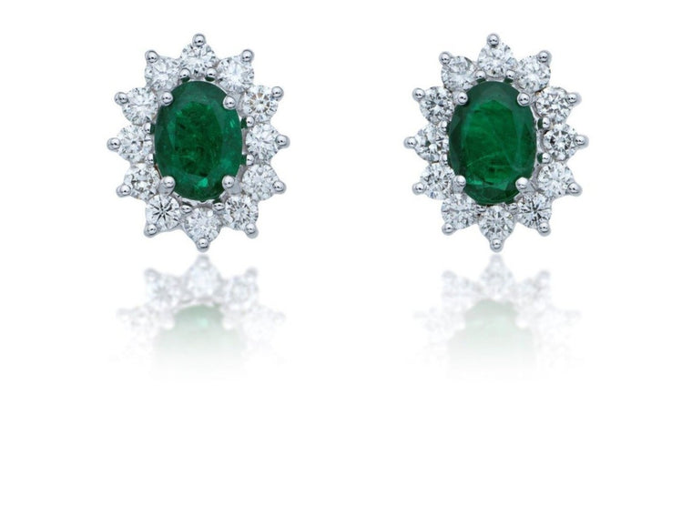 Diamond and Emerald Cluster Earrings