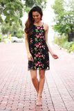 Give It All Embroidered Floral Dress (Black) - Pineapple Collective