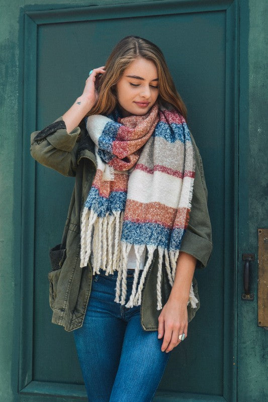 Ultra Soft Oversized Striped Tassel Scarf (Blue) - Pineapple Collective