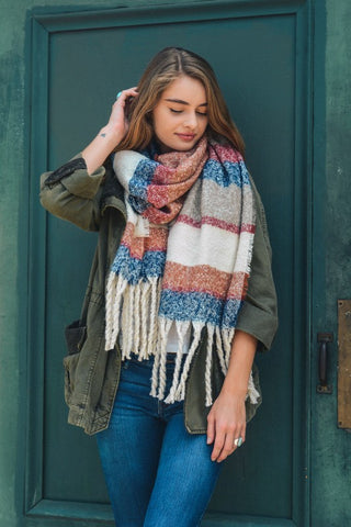 Ultra Soft Oversized Striped Tassel Scarf (Blue)