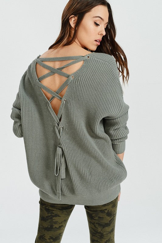 Fall Vibes Lace Up Back Sweater (G. Mint) - Pineapple Collective