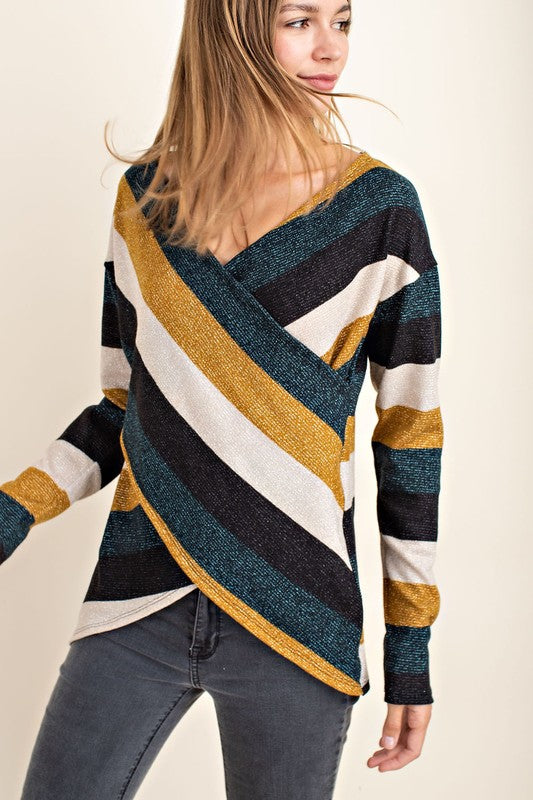 So Obvious Multi Striped Surplice Long Sleeve Top (Mustard) - Pineapple Collective