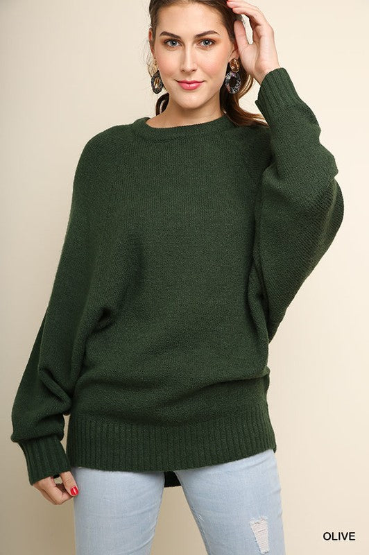 Crazy In Love Long Sleeve Boucle Knit Pullover Sweater (Olive) - Pineapple Collective