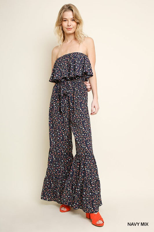 Mini Floral Print Wide Ruffle Leg Jumpsuit (Navy Mix) - Pineapple Collective