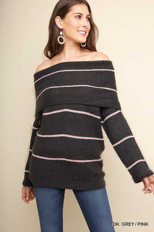 Know My Worth Striped Off Shoulder Knit Sweater (Dar Grey/Pink) - Pineapple Collective