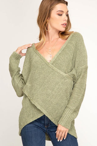 Love Me More Long Sleeve Surplice Sweater Top (Olive) - Pineapple Collective