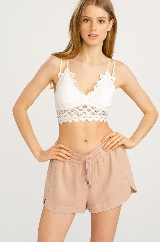 Lost Without You Double Strap Scalloped Lace Bralette (Ivory) - Pineapple Collective
