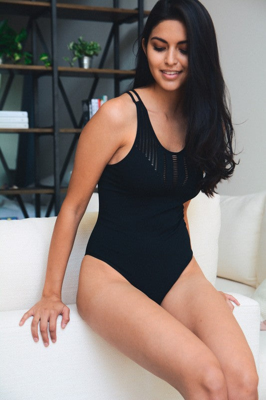 Seamless Cutout Ribbed Bodysuit (Black)