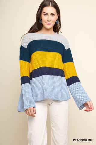 Love You More ColorBlock Knit Pullover Sweater (Multi)