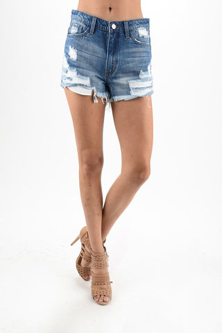 Summer Perfection Distressed Shorts (Medium Wash) - Pineapple Collective