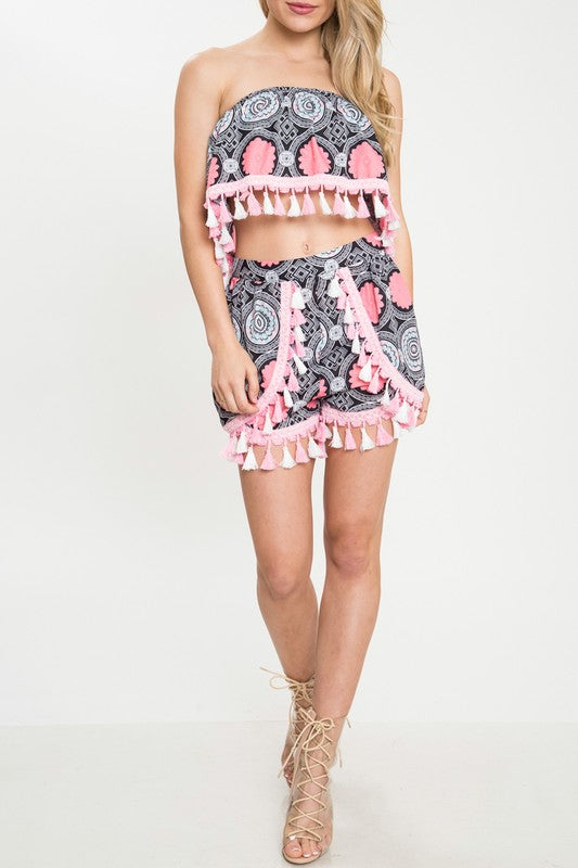 Take Me With You Abstract Print Tassel Two Piece Set - Pineapple Collective