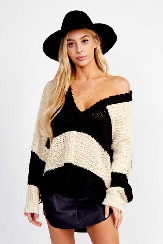 Call The Attention Distressed striped Sweater (Black/Beige) - Pineapple Collective