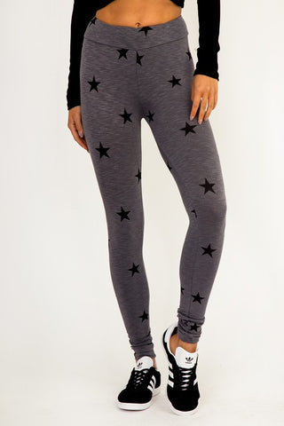 Star Elastic Waist Leggings (Grey) - Pineapple Collective