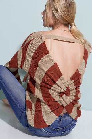 Fall Obsession Open Back Knit Sweater (Marsala) - Pineapple Collective