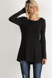 Enchanted Forest Long Sleeve Crochet lace Trim Tunic Top (Black) - Pineapple Collective
