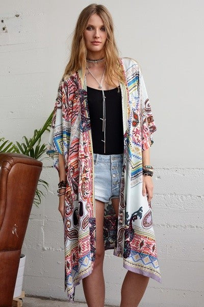Vintage Paisley Mix Pattern Long Kimono (Ivory) - Pineapple Collective
