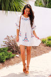 Love Is Everything Embroidered Dress (White) - Pineapple Collective