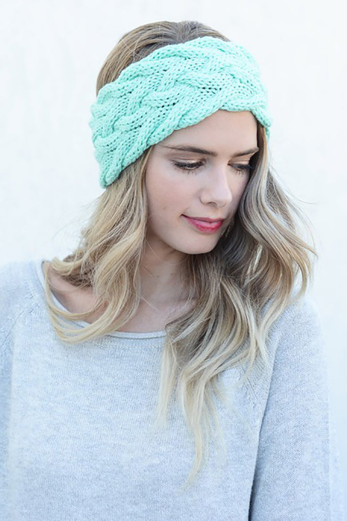 Braided Cable Knit Headband (Mint) - Pineapple Collective