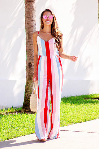 Beautiful As Always Multi Striped Jumpsuit (Red)