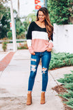 Here I Come Twist Tie ColorBlock Sweater (Multi) - Pineapple Collective