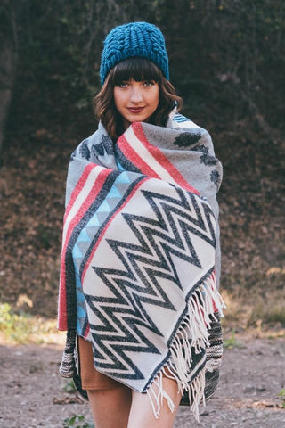 Multi Pattern Tribal Tassel Blanket Scarf (Black/Coral)