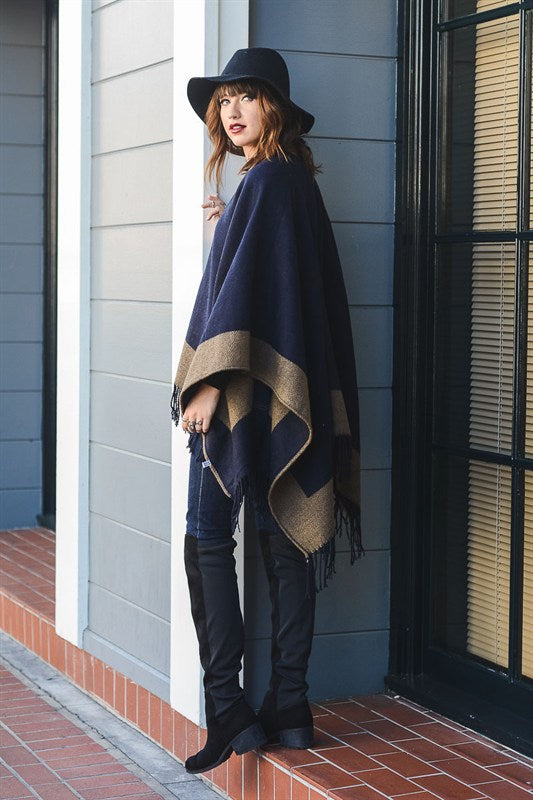 Color Block Reversible Poncho w/ Tassel - Pineapple Collective