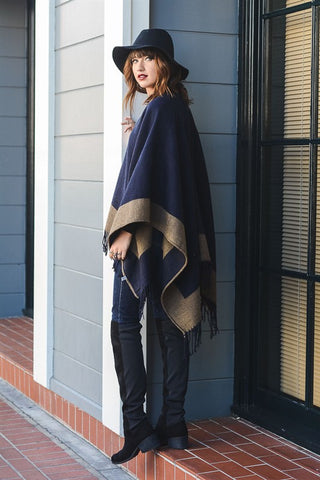 Color Block Reversible Poncho w/ Tassel
