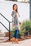 Aztec Printed Hooded Cardigan (Charcoal/Taupe) - Pineapple Collective