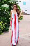 Beautiful As Always Multi Striped Jumpsuit (Red) - Pineapple Collective