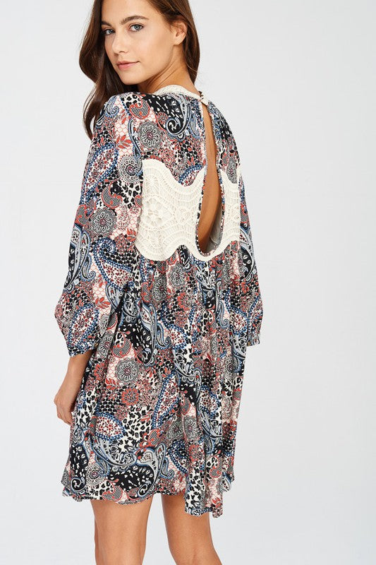 Bohemian Free-Spirited Print Swing Dress - Pineapple Collective