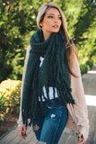 Chunky Oversized Tasseled Blanket Scarf (Green) - Pineapple Collective