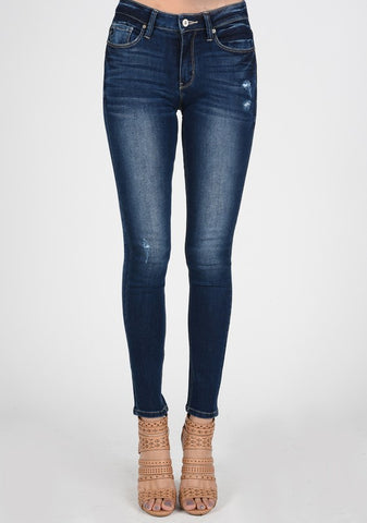 KanCan Super Skinny Distressed Jeans (Dark Wash)