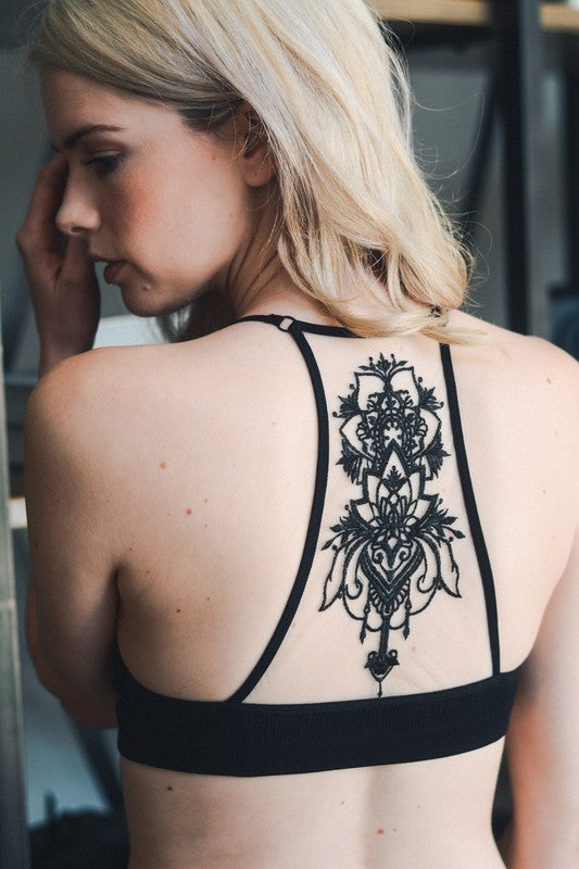 Tattoo Mesh Racerback Bralette (Black) - Pineapple Collective