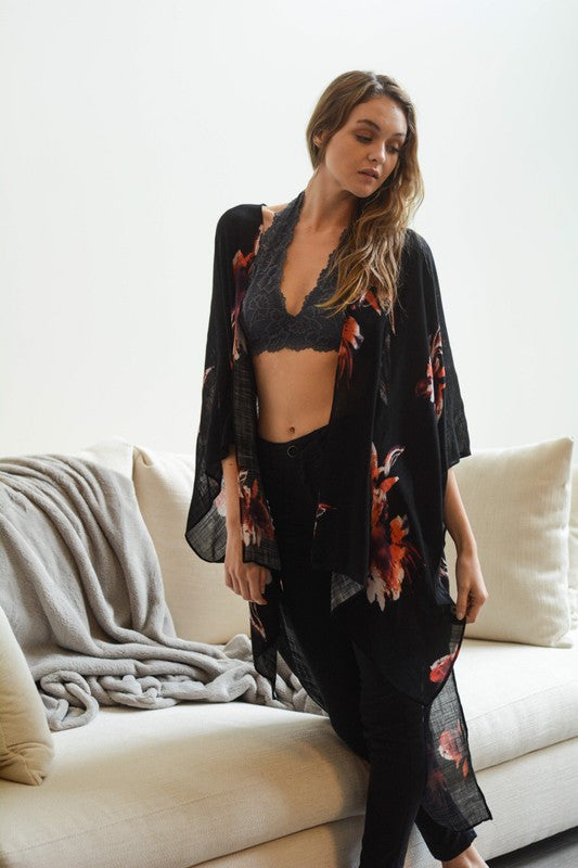 Floral Print Kimono Wrap (Black) - Pineapple Collective