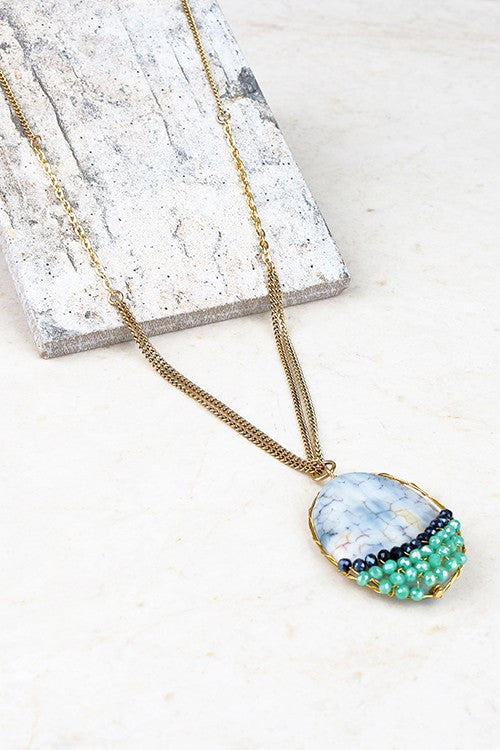 Natural Agate Stone and Crystal Contrast Pendant Long Necklace - Pineapple Collective