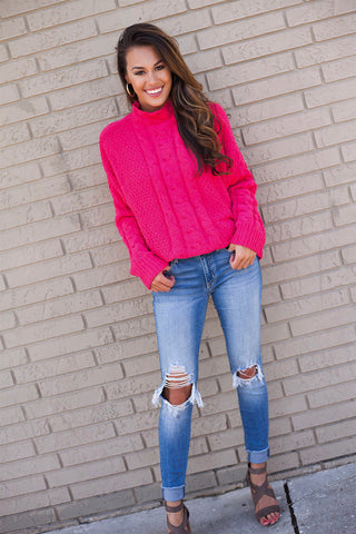 Love Is Pink Mock Neck Cable Knit Sweater (Hot Pink)