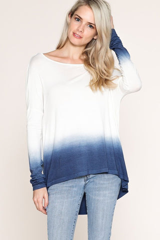 Ombre Open Back Long Sleeve Top