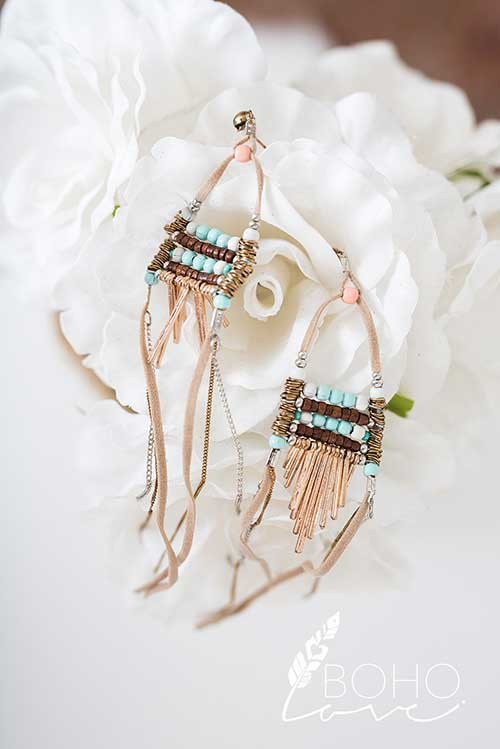 Suede Bead And Chain Tassel Drop Statement Earrings - Pineapple Collective