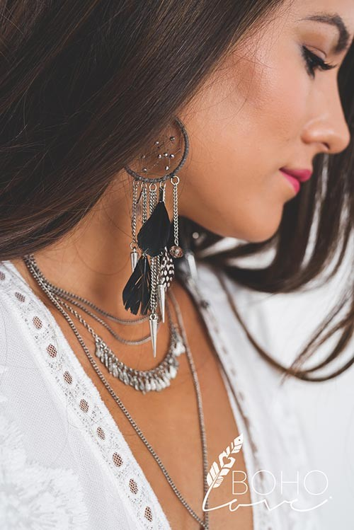 Dreamcatcher Feather And Dagger Detail Tassel Chain Statement Earrings