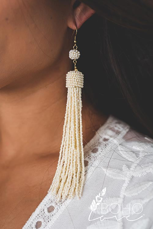 Statement Beaded Tassel Drop Earrings - Pineapple Collective