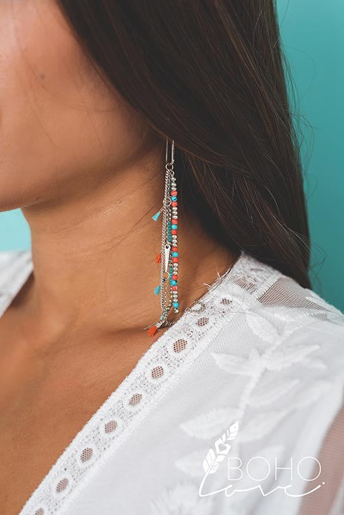 Modern Statement Bead And Chain Tassel Detail Drop Earrings - Pineapple Collective