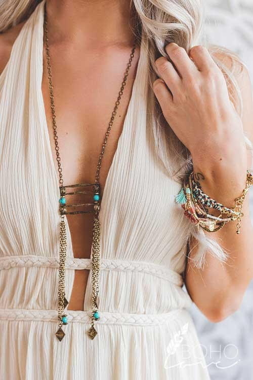 Chain Tassel Charm And Bead Detail Layered Ladder Statement Necklace - Pineapple Collective