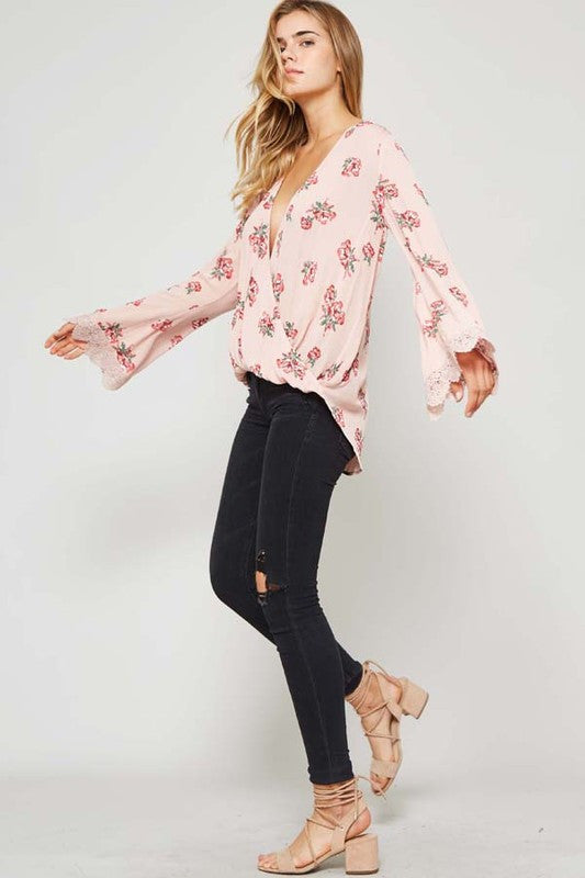 Floral Print Bell sleeves Top (Blush) - Pineapple Collective