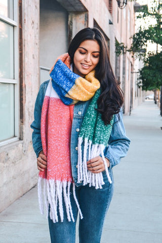 Rainbow ColorBlock Scarf (Red/Green) - Pineapple Collective