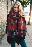 Chunky Plaid Blanket Scarf (Burgundy) - Pineapple Collective