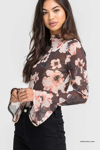 'Katy' Mesh Floral Bell Sleeves Bodysuit (Brown) - Pineapple Collective
