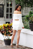 Sweet Secrets Off Shoulder Long Sleeve Tassel Two piece Set (Off White) - Pineapple Collective