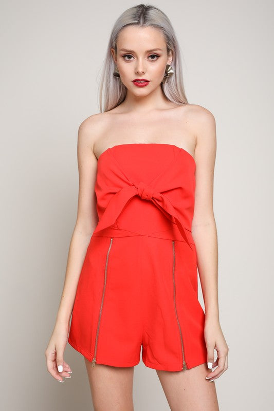 Won't Let You Fall Strapless Front Tie Romper (Red) - Pineapple Collective
