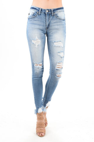 Andrea KanCan Super Skinny Distressed Jeans (Medium Wash/Mid-High)